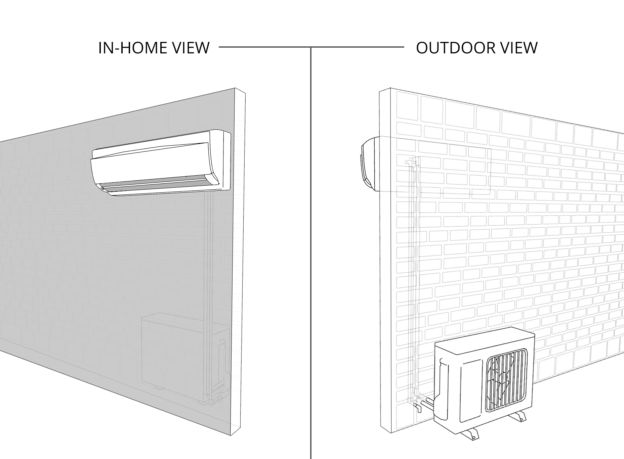 ductless mini-split air conditioner indoor and outdoor view